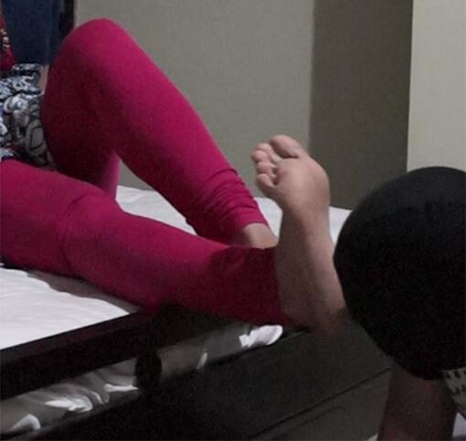 shy girl gives handjob